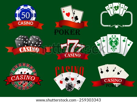 Casino and gambling icons set with casino chips, bet, roulette, dice and cards - stock vector