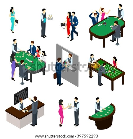 Casino and people isometric set with gambling and bet symbols isolated vector illustration  - stock vector