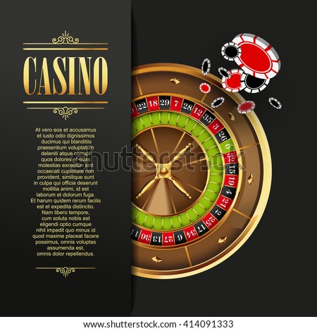 Casino background. Vector  illustration. Gambling template. Game design with roulette wheel and poker chips. Casino gambling illustration. Casino poker chips. Casino games. Roulette wheel. Casino  - stock vector