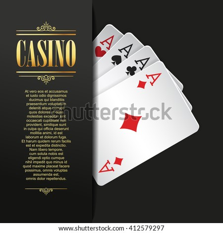 Casino background. Vector Poker illustration. Gambling template. Casino design with playing cards. Four aces. Casino banner. Casino logo. Casino flyer. Vector casino gambling illustration. Casino - stock vector