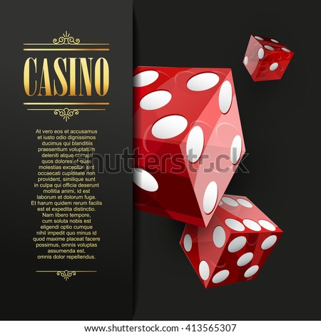 Casino background. Vector Poker illustration. Gambling template. Casino design with red dice. Four aces.  Vector casino gambling illustration. Casino template. Casino flyer. Casino background. - stock vector