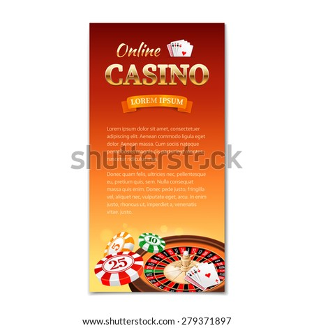 Casino background. Vertical banner, flyer, brochure on a casino theme with roulette wheel, game cards and chips. Vector illustration  - stock vector