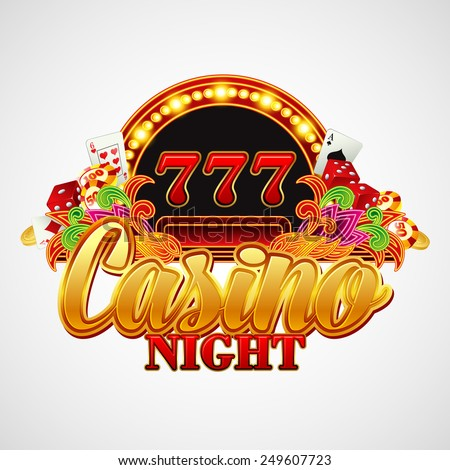 Casino background with cards, chips, craps and roulette. Vector illustration - stock vector