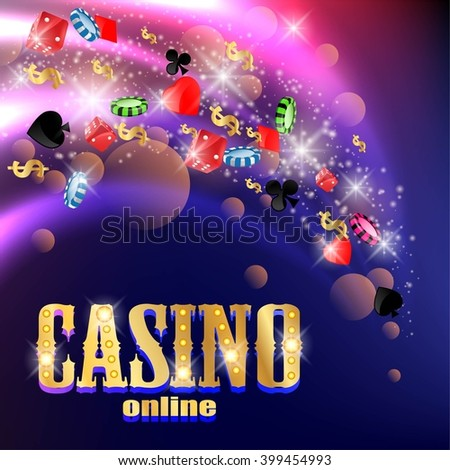 Casino background with cards,craps and money.  - stock vector