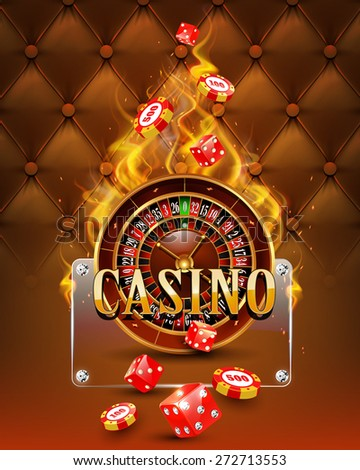 Casino background with chips, craps and burning roulette. Vector illustration. - stock vector