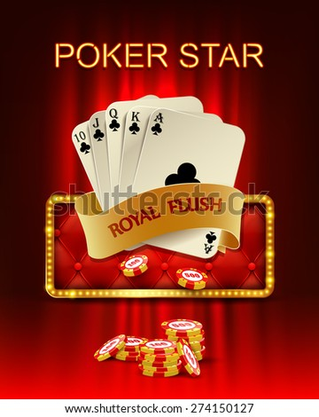 Casino background with poker combination royal flush and chips. Vector illustration. - stock vector