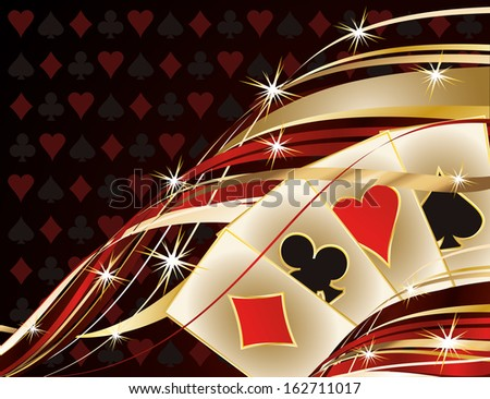 Casino banner with poker cards, vector illustration - stock vector