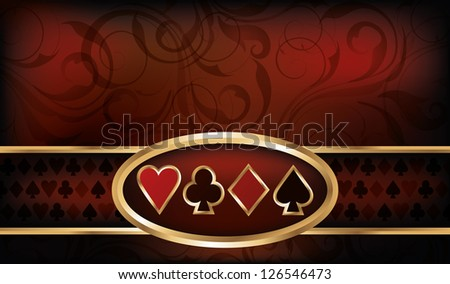 Casino business card with poker elements, vector illustration - stock vector