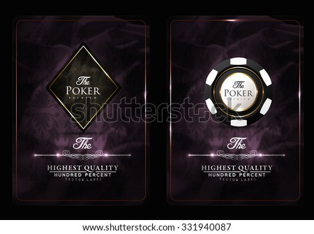 Casino card design collection-vintage style- elegant-poker-vip - stock vector