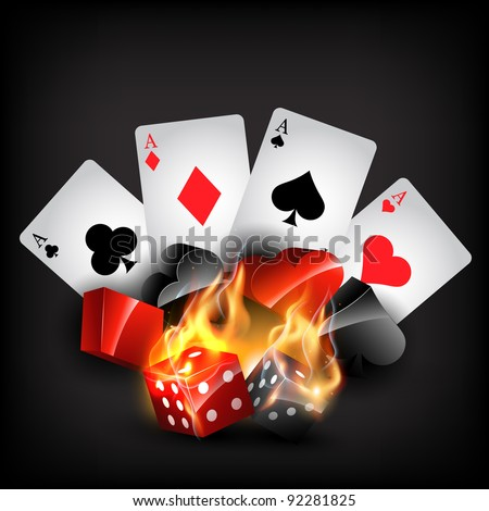 casino cards shape in burning style - stock vector