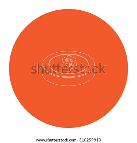 Casino chip. Flat outline white pictogram in the orange circle. Vector illustration icon - stock vector
