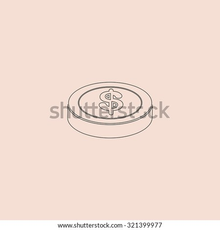 Casino chip. Outline vector icon. Simple flat pictogram on pink background - stock vector