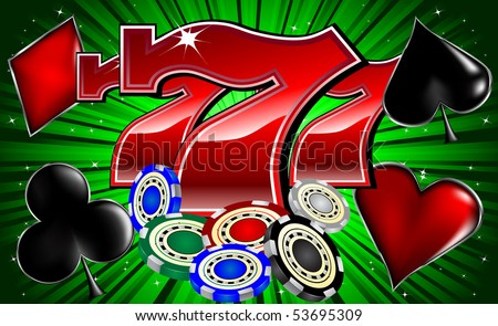 casino chips poker signs and lucky seven font vector illustration - stock vector
