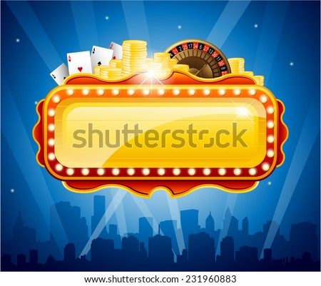 Casino city background vector illustration - stock vector
