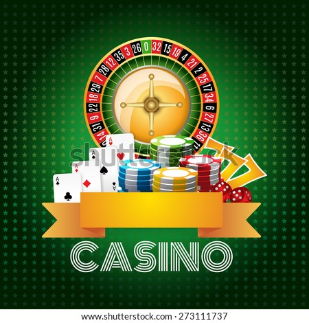 Casino club poster print with roulette aces set and chips on green background flat abstract vector illustration - stock vector