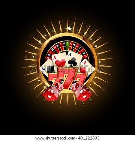 Casino  Composition with Roulette Wheel, Playing Cards ans Dice. Gambling Casino Vector Illustration. Casino Games Design. - stock vector