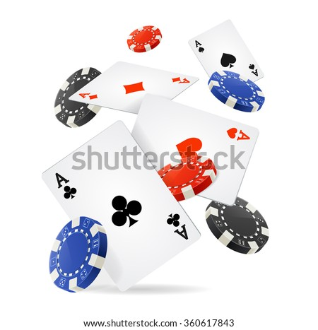 Casino Concept Floating Cards and Chips. Vector illustration - stock vector