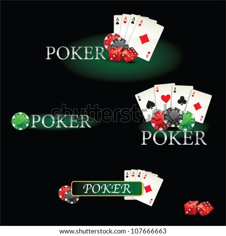 Casino elements Poker cards and chips - stock vector