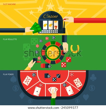 Casino flat horizontal banner set with slot machine play poker and roulette elements isolated vector illustration - stock vector