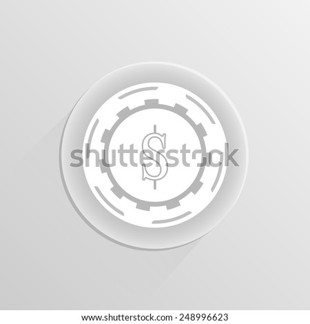 Casino gambling chips icon on a white button with shadow  - stock vector