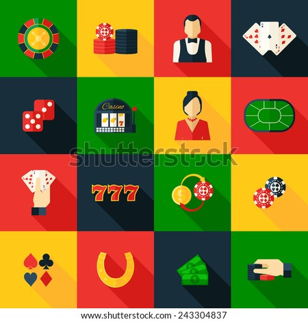 Casino game of chance money play icon flat set isolated vector illustration - stock vector