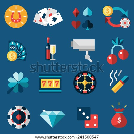 Casino game of fortune gambling and roulette icons set isolated vector illustration - stock vector