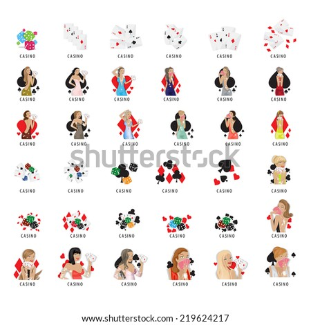 Casino Girls And Elements Set - Isolated On White Background - Vector Illustration, Graphic Design Editable For Your Design   - stock vector