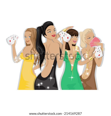 Casino Girls - Isolated On White Background - Vector Illustration, Graphic Design Editable For Your Design   - stock vector