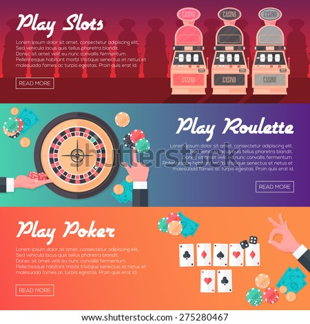 Casino Horizontal Banner Set (Slot Machine, Poker and Roulette). Flat Style. Clean Design. Vector Illustration. - stock vector