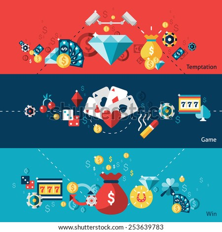 Casino horizontal banner set with temptation game win elements isolated vector illustration - stock vector