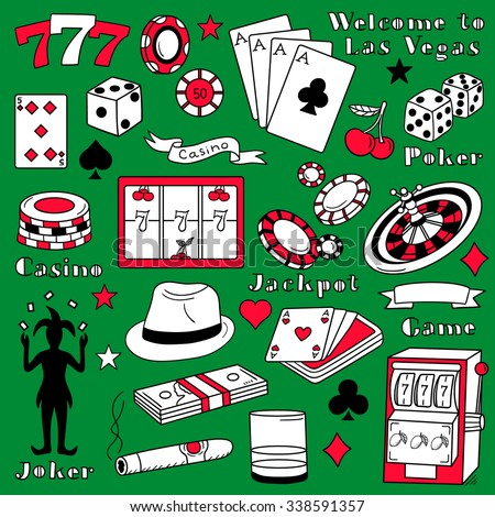 Casino icon set hand drawn. Doodle big collection game icons and casino icons vector. Sketch objects black, white and red - stock vector
