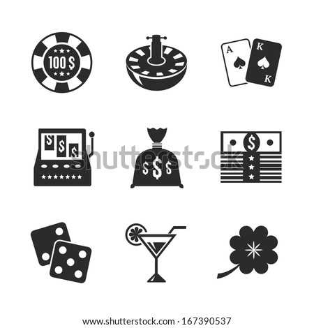 Casino icons set for game design, cards dices clover and chips in contrast flat isolated vector illustration - stock vector