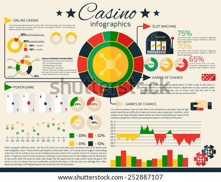 Casino infographics set with gambling and fortune games symbols and charts vector illustration - stock vector