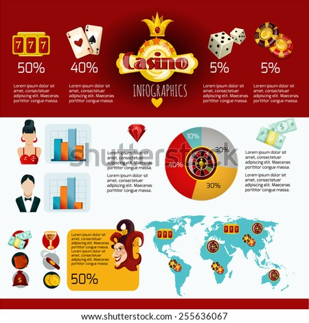 Casino infographics set with gambling game of chance symbols charts and world map vector illustration - stock vector