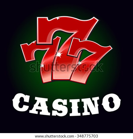 Casino jackpot icon with sparkling red triple seven lucky number. Gambling industry or winner concept - stock vector