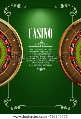 Casino Logo Poster Background or Flyer with Roulette Wheel . Banner with Casino Logo Badges. Game Cards on Green Canvas. Playing Casino Games. Casino Banner. Casino Games Gambling Template background. - stock vector
