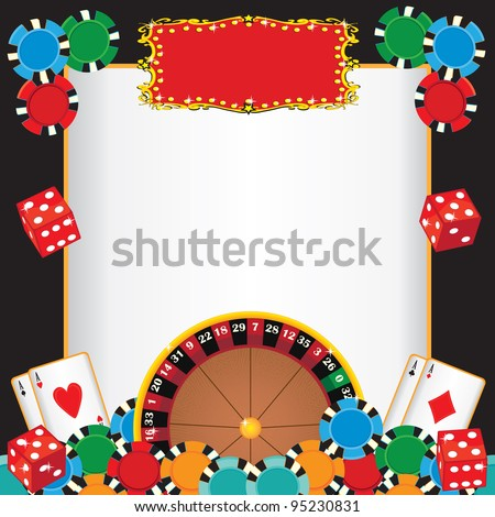 Casino Night Party Event Invitation with Roulette wheel, gambling chips, playing cards and dice with a red marquee to highlight your event name. - stock vector