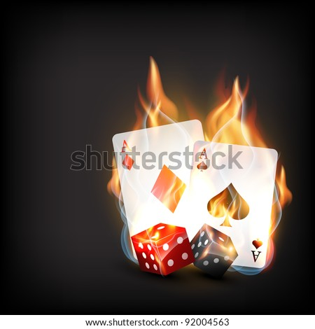 casino playing cards in burning style - stock vector