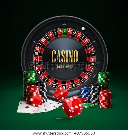 casino roulette, casino chips, casino red dice, casino cards,casino set,casino realistic objects,casino icon, casino background - stock vector