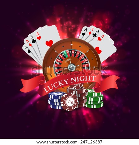 Casino. Roulette with Red Ribbon Lucky night. Vector illustration - stock vector