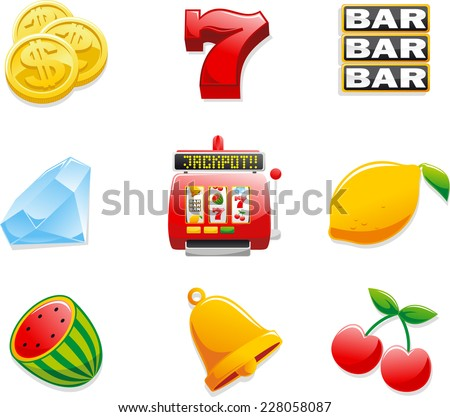 Casino Slot Machine Icons, with Coins, Seven, Bar, Diamond, Jackpot, Lemon, watermelon, bell and cherry. Vector illustration cartoon.  - stock vector