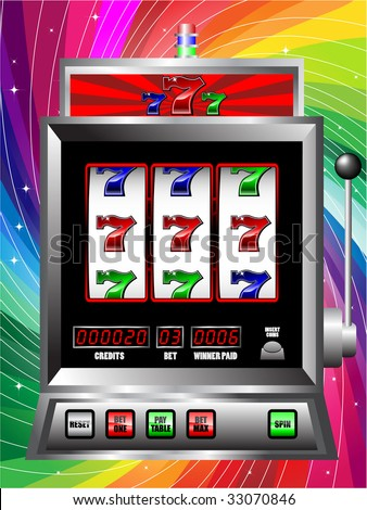 casino slot machine with colorful background - stock vector