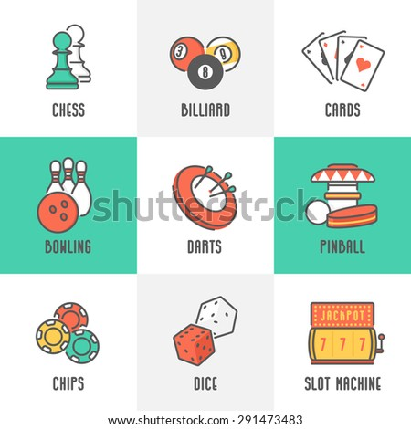 Casino Sport and Leisure Games Icons (Chess, Billiard, Poker, Darts, Bowling, Gambling Chips, Pinball, Dice and Slot Machine). Trendy Thin Line Design with Flat Elements. Vector Illustration. - stock vector