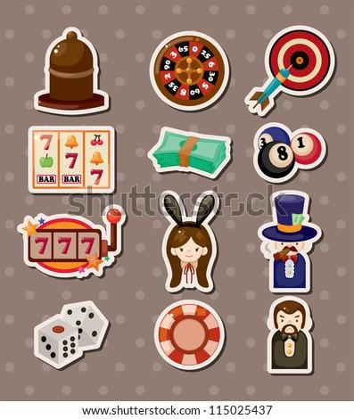 casino stickers - stock vector