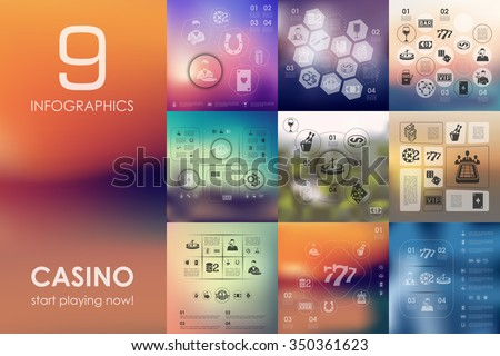 casino vector infographics with unfocused blurred background - stock vector