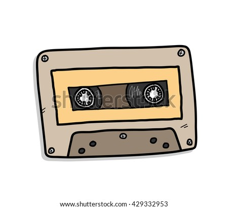 Cassette, a hand drawn vector illustration of an audio cassette. - stock vector