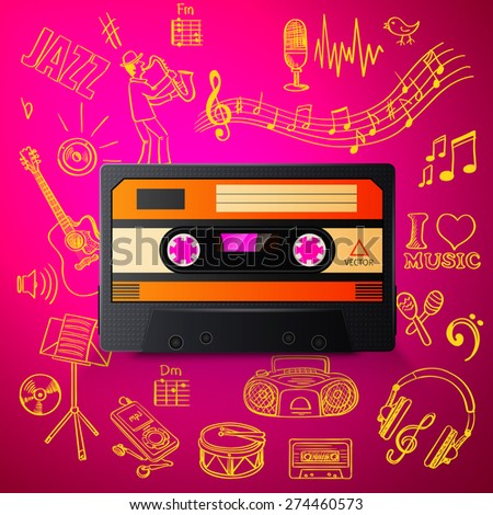 cassette and hand draw misic icon, excellent vector illustration, EPS 10 - stock vector