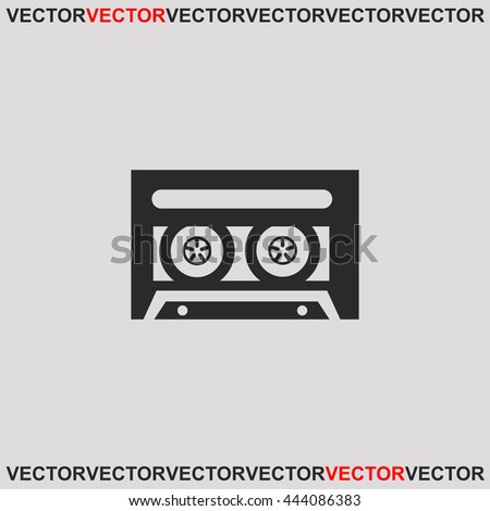 Cassette icon. Grey image on grey background. Web icon. - stock vector