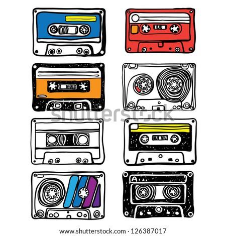 cassette illustration - stock vector