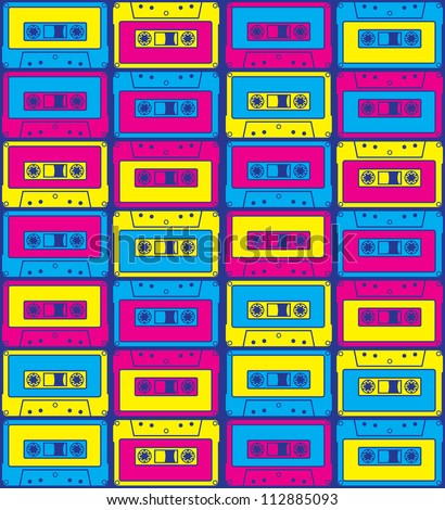 Cassette in New Rave Style - stock vector